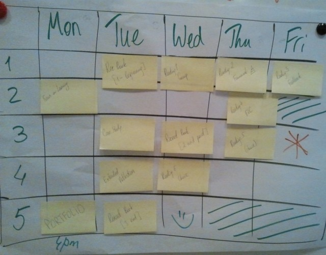 Hand-made calendar to show what needs to get done, and when.