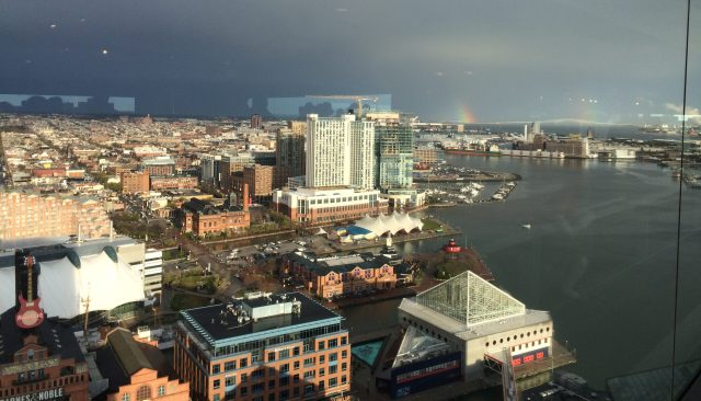 Can you see the rainbow? From Top of the World Observation Level, Baltimore.